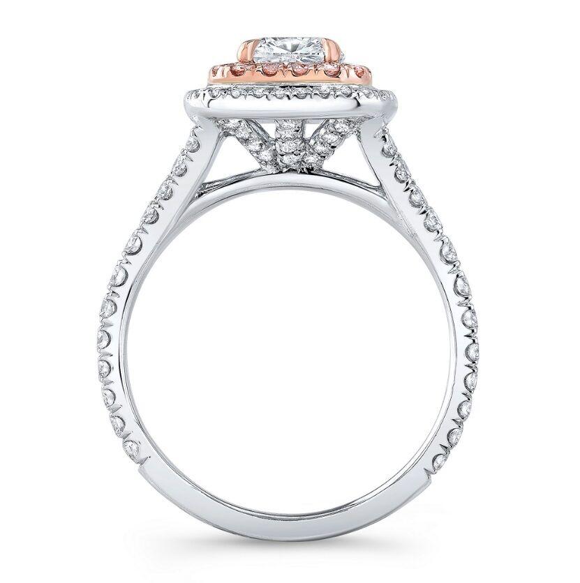 Platinum 3.05 Ct Cushion Cut Dual Halo Pink Diamond Engagement Ring F,VVS2 GIA  1