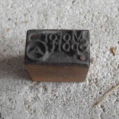 Vintage Motor Sport Wood Metal Letterpress Print Block Stamp