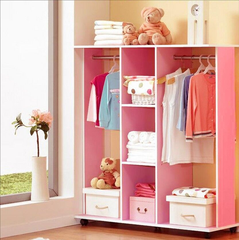 Bedroom Wooden Wardrobe Cupboard Clothes Racks Shelves