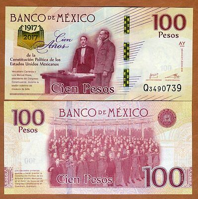 Mexico 100 Pesos 2016 2017 P-New UNC > Commemorative, 100 years of constitution
