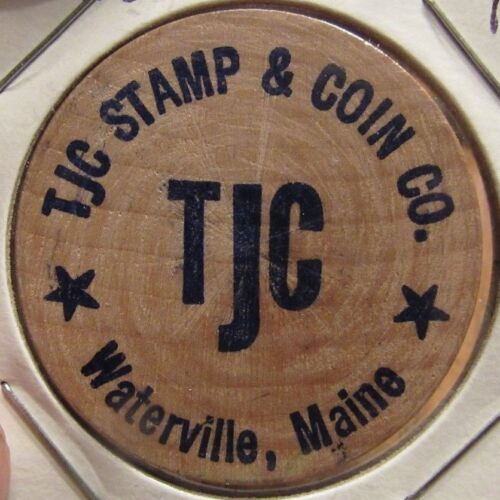 Vintage TJC Stamp & Coin Co. Waterville, ME Wooden Nickel - Token Maine