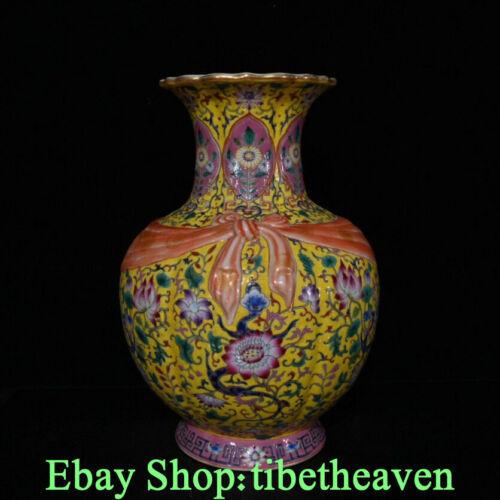 """12.8"""" Qianlong Old Chinese Colour Enamel Porcelain Gilt Palace Flower Vase JL"""
