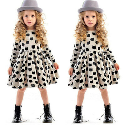 Baby Holiday Dresses (Kids Baby Girls Cat Print Dress Long Sleeve Holiday Party Dresses Size 1-7)