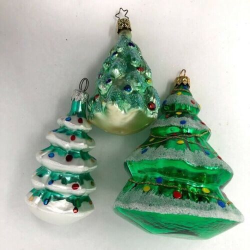 German 3 Assorted Green Gold Sparkle Tree  Glass Christmas Ornaments Germany