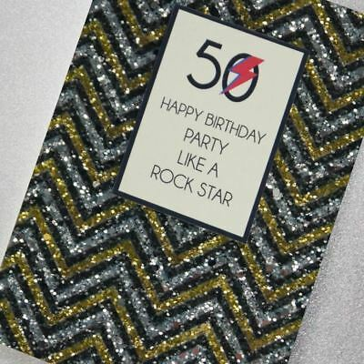 Counting Stars Greetings Card - 50 Happy Birthday Party Like a Rock Star ()