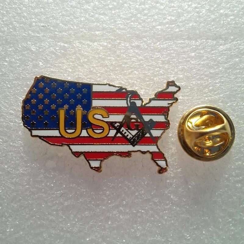 Large  USA Masonic  Golden Finish Pin