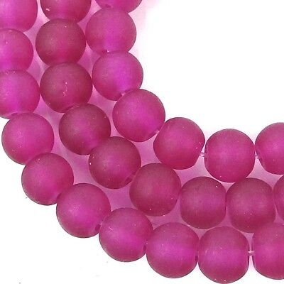 50 Czech Frosted Sea Glass Round / Rocaille Beads - Matte - Cerise / Fuchsia 6mm