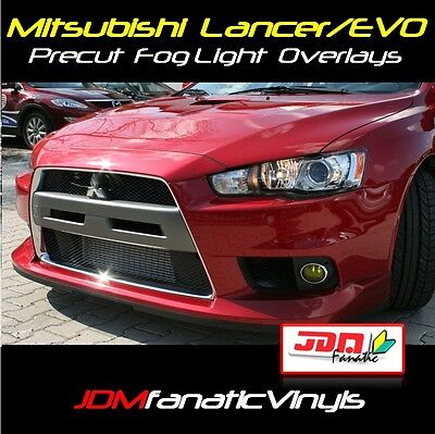 (08-17 Lancer Evolution Evo X Fog light Yellow Overlay TINT Film precut wrap JDM)