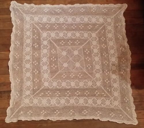 VINTAGE HAND CROCHET OFF WHITE SQUARE  DOILIE FREE SHIPPING