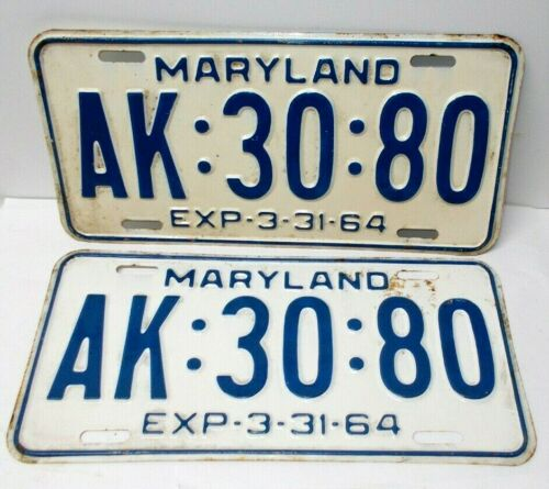 Vintage 1963-1964 Maryland License Plate Set