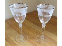 Pair of Bernese Mountain Dog Wine Glasses BN