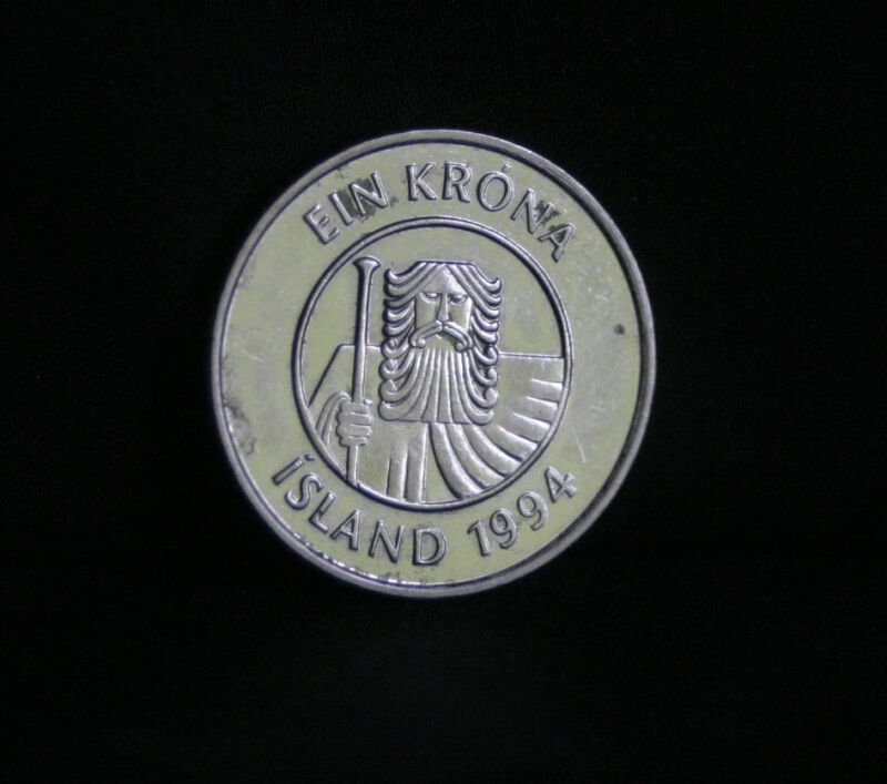 1994 Iceland 1 Krona Copper Nickel World Coin KM27a Cod fish Giant