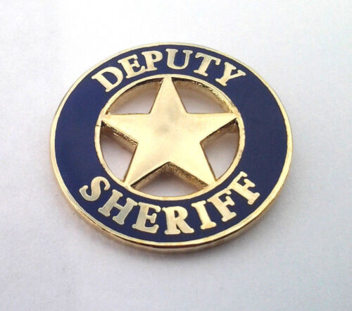 """DEPUTY SHERIFF ( 7/8"""" Round ) Law Enforcement Police Hat Pin P00632 EE"""