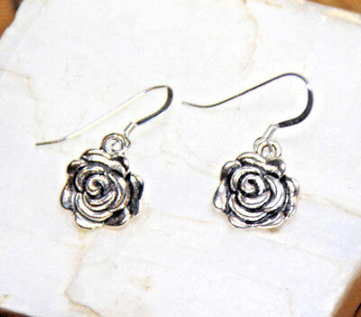 Rose bud Earrings Flower dangle 925 sterling silver hooks pewter charms Rosebud