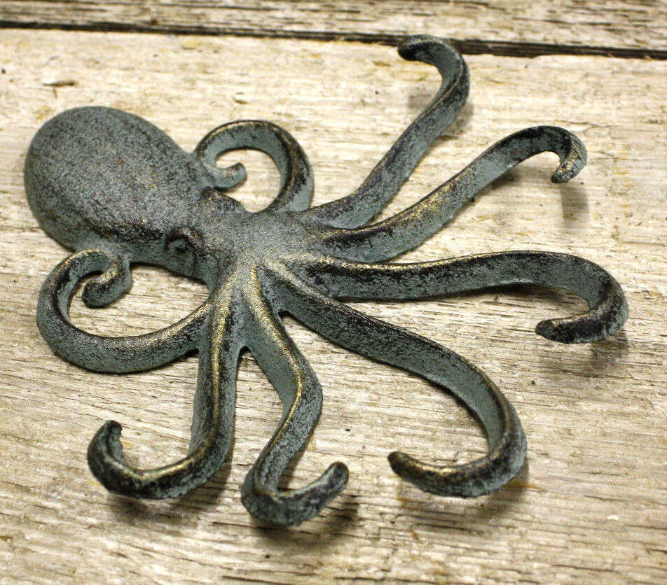 Купить Heavy Cast Iron Octopus Towel Hanger Coat Hooks Hat Hook, Key Rack Nautical