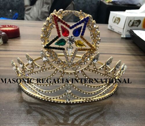New Freemason Masonic OES Grand Matron Crown in Gold with Rhinestones, OES CROWN