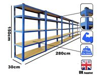 Metal Heavy Duty 4 Bays 5 Tier Racking Shelving Industrial Storage shed bolt less