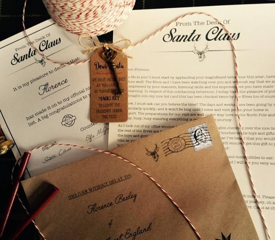 Personalised, vintage style Letter from Santa inc certificate, magic key and real wax seal