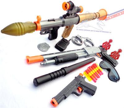 3x Toy Guns Electronic Toy Bazooka Pump-Action Toy Shotgun & Colt .45 Dart Guns (Toy Guns)