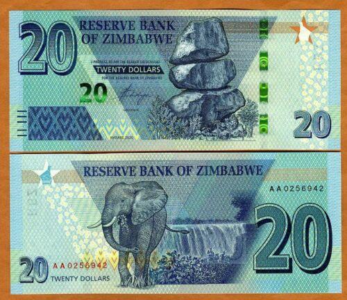 Zimbabwe, 20 dollars, 2020, P-New, Redesigned, AA-Prefix, UNC