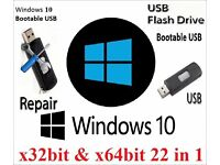 Windows 10 Recovery Repair Restore Bootable Usb Stick 32bit & 64bit (22 in 1)