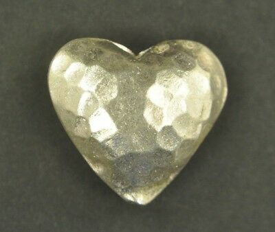 Thai Silver Hammered Puffed Heart Hill Tribe Handcrafted Pendant Charm Bead 24mm