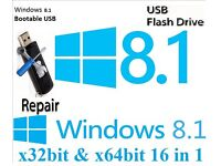 Windows 8.1 Recovery Repair Restore Bootable Usb Stick 32bit & 64bit 16 in 1