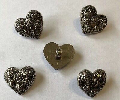 20 Heart Buttons Silver With Shank Back 20mm X 20mm U.K. Seller Fast Delivery](Costumes Fast Delivery)