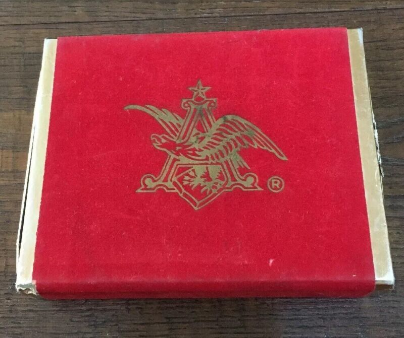 Anheuser Busch Playing Cards In Velvet Like Slid Case W/Anheuser Emblem