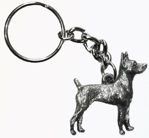 Rat Terrier Dog Keychain Keyring Harris Pewter Made USA Key Chain Ring