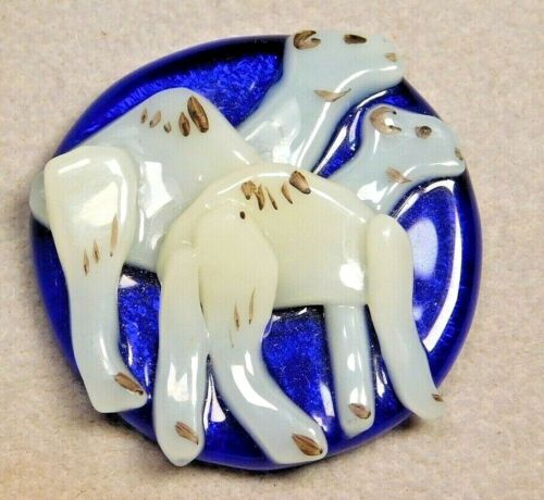 Vtg Collectible Button Lampwork Glass CAMELS in Cobalt Blue  NICE!
