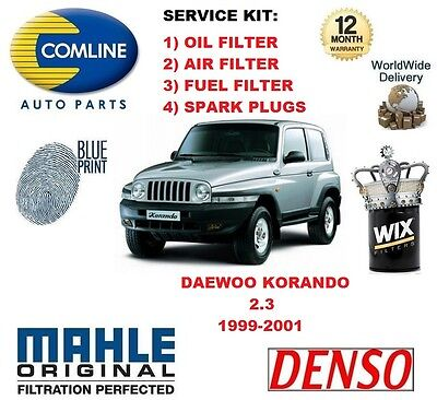 DAEWOO KORANDO 2.3 16v 1999-2001 OIL AIR FUEL FILTER + SPARK PLUGS SERVICE KIT segunda mano  Embacar hacia Argentina