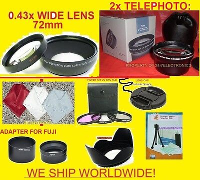 23pcs: 2.2x Telephoto+0.43x Wide Angle Lens 72mm+adapter Fuji S3200 S3250 S3280