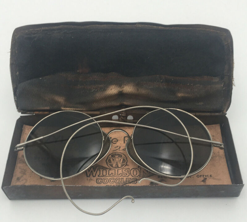 Vintage Willson Goggles W/ Tin Side Shields Glasses