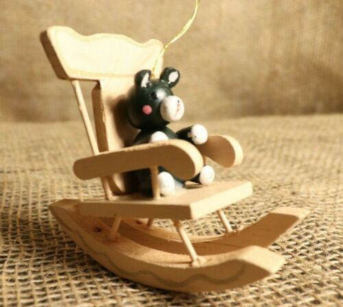 Wooden Teddy Bear in rocking chair ornament