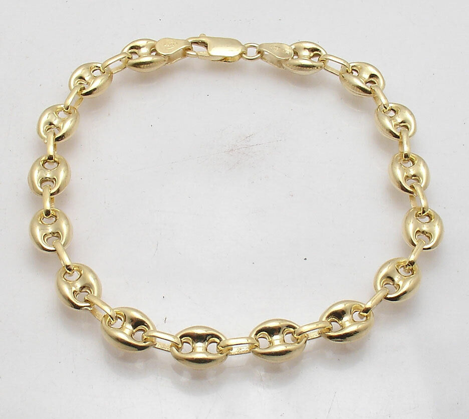"""9"""" Puffed Mariner Gucci Link Bracelet 14K Yellow Gold Clad S"""