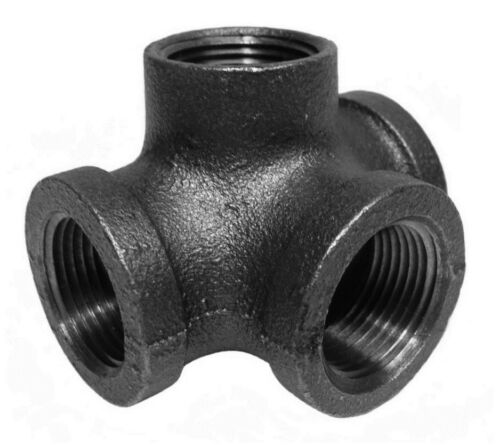 """3/4"""" INCH SIDE OUTLET TEE BLACK MALLEABLE IRON PIPE FITTINGS THREADED - P7432"""