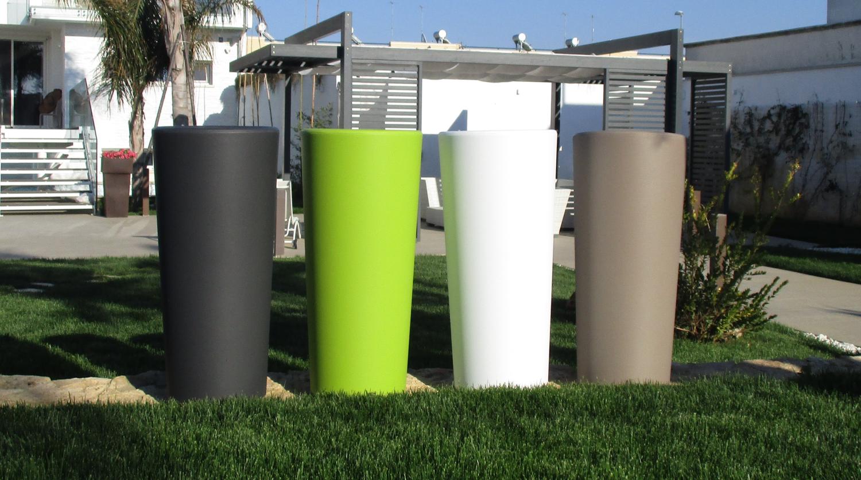 Vaso tondo alto vasi moderni H 85 x30x38 con cache pot rimovibile Made in Italy