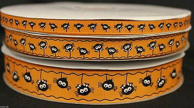 oky spider printed grosgrain ribbon in 3 sizes arts/crafts  (Halloween Orange)