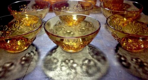 6 Gorgeous Vintage Amber Glass Dessert Bowls In Lovely Condition