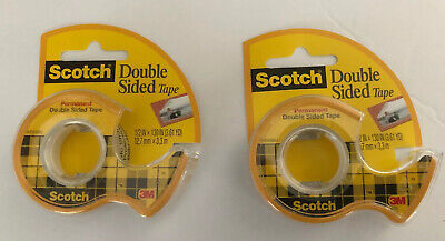 Scotch Double-sided Permanent Tape In Dispensers 12 X 130 Transparent 2-pk