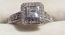 18ct white gold halo princess cut 1.05ct diamond engagement ring Orange Orange Area Preview