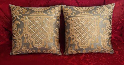 Two Carnavalet Fortuny Pillows Mirror Each Other Velvet Backs