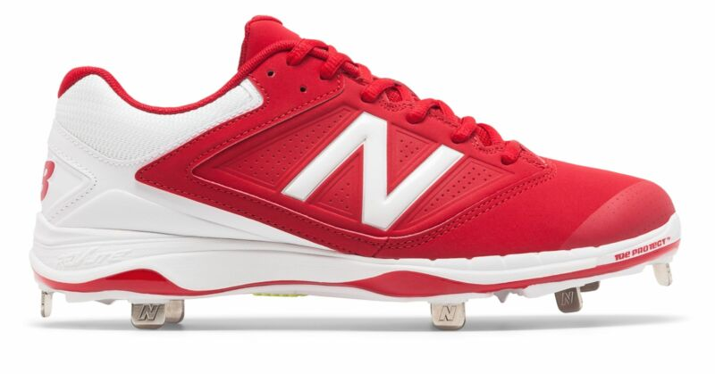 New Balance Low-Cut 4040v1 Metal Softball Cleat Womens Shoes Red with White Size