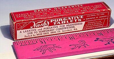 VINTAGE EMPTY BOX MASH'S PURGATIVE TABLETS FOR BILIOUSNESS NASH BROS DRUG CO ARK