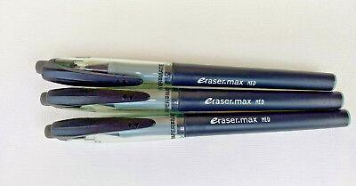 3 -Vintage Paper Mate  Eraser.Max Gel Pens Black Ink Medium Tip Erasable
