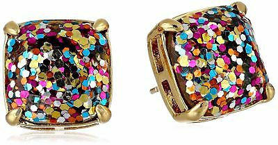 KATE SPADE 12K Gold Plated Multi Glitter Square Stud Earrings with Dust Bag