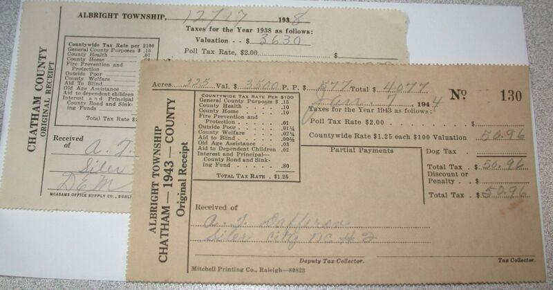 2 Tax Receipts A T DAFFRON Albright Township Chatham County, NC 1944 & 1959