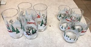 Winter cups 4 tall and 5 short glasses
