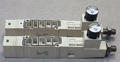 Lot Of 2 Smc Sv2000-00-a1 Sv Series Pneumatic Manifold. These Are Good Working